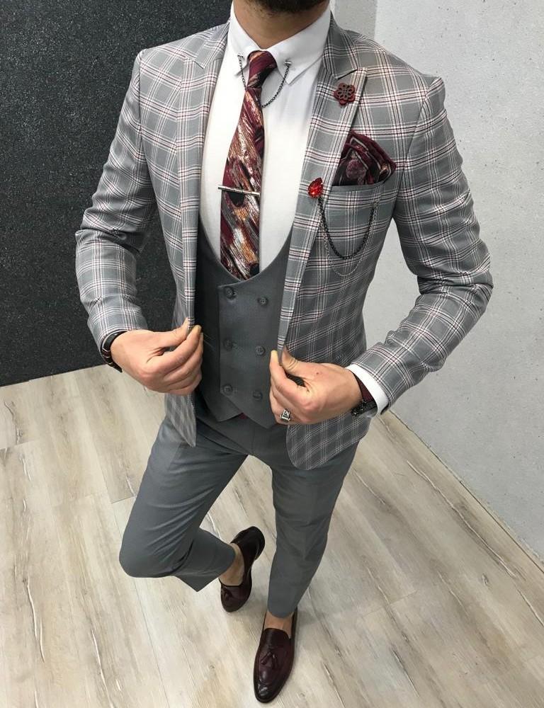 ade slim fit plaid suit gray