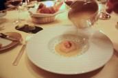 Scallop, Oyster Tartare and Cress, Condrieu Wine Sauce