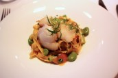 Tagliatelle with cod cheeks, broad beans, asparagus, pied bleu and wild garlic