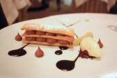 Chocolate mille feuille, citrus poached pear, pear sorbet