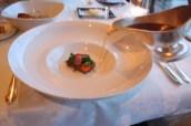 Beef consommé, braised beef, spring vegetables
