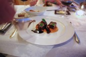 "Beef strip loin of ""Simmental červenostrakaté"", glazed sweetbread, Madeira sauce, carrot purée, roasted violet carrot, parsley emulsion"