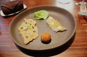 Canape 2 - Crispy Fish Skin with Truffled Mayonnaise, Duck Croquette, Mushroom Cracker, Lettuce leave