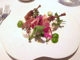 Salad of confit quail legs, iberico ham, sairass ricotta, baby green peaches and ice salad