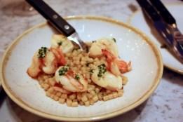 King prawn macaroni, chives and ginger