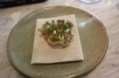 Crispy fish skin, smoked cod, oyster & dill