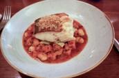 Roast Cornish Cod, Morteau Sausage & Butterbean Stew, Savoy Cabbage, Garlic Crumb
