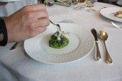 Roasted fillet of Cornish cod, peas, pickled onion, sauce gribiche