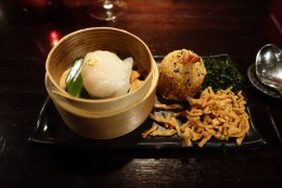Gold leaf har gau and sesame prawn toast with foie gras