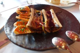 Roasted bone marrow, veal jus, spicy brava sauce toasts