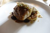 Spiced Cornish Monkfish with Caramelised Cauliflower Puree, Homemade Raisins and Verjus dressing