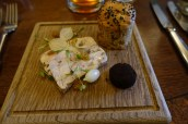 Coronation Chicken Terrine, Onion Loaf, Curried Butter with Burnt & Pickled Onions