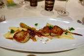 Seared Dived Scallops, Confit of Chicken Wings, Chicken Juices, Parsnips and Woodruff
