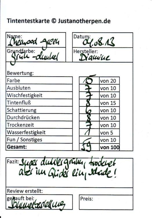 Diamine sherwood green Testkarte Vorderseite