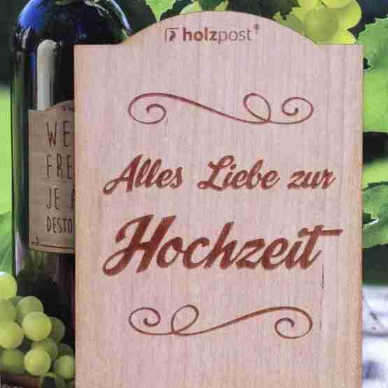 Genusswerk Holzpost Weinetikett Alles Liebe zur Hochzeit