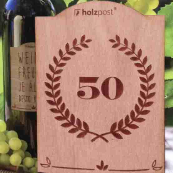Genusswerk Holzpost Weinetikett Jubiläum 50
