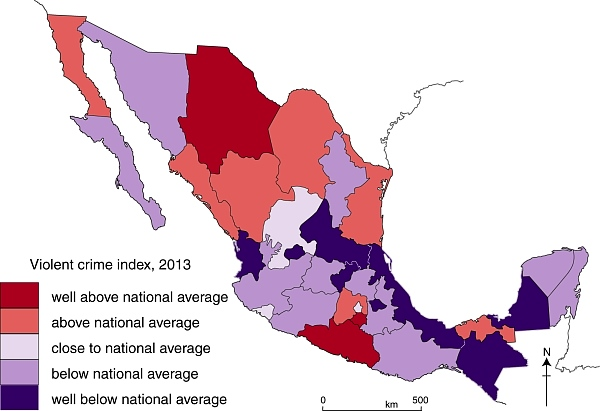 Violent crime amp drug cartels in mexico maps charts american info
