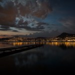 Montreux in der Nacht vom Zeltplatz Grangettes aus