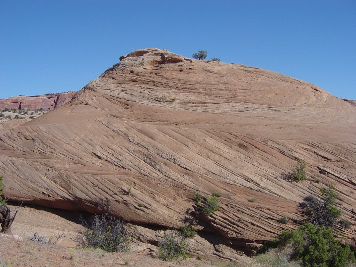 Sand dune cross-bedding in Navajo Sandstone, north of Canyonlands National Park, Utah. Photo by Kevin Nelstead