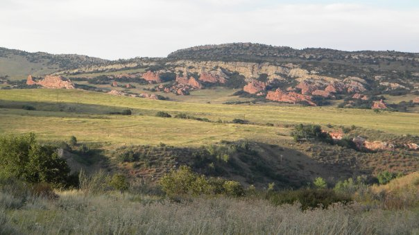 Looking across to Pennsylvanian Fountain Formation, xxx Lyons Formation, Jurassic Morrison Formation, and Cretaceous Dakota Formation