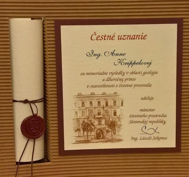 Článok: V Banskej Štiavnici boli ocenení 10 pracovníci envirorezortu, foto: archív Anny Krippelovej