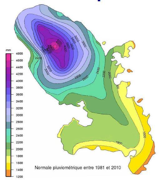 Carte pluviométrie normales 1981-2010