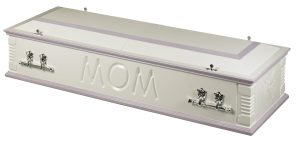 Casket white lilac two tone