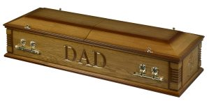 Casket split lid two tone oak