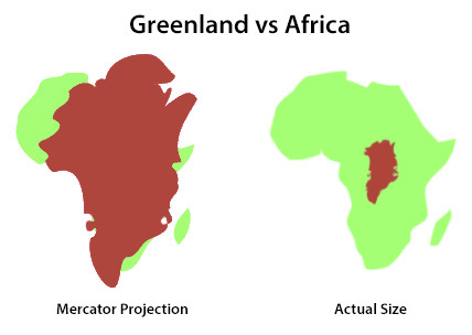 Greenland vs Africa Mercator Projection