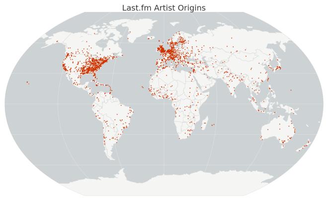 Map of Last.fm artist origins