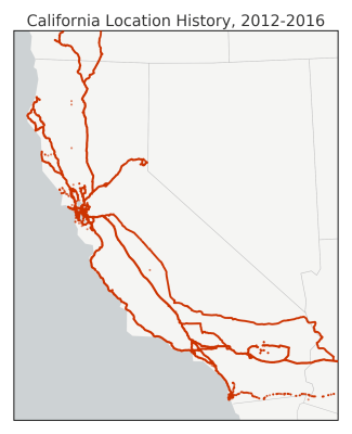 Map of my Google GPS location history data in California, made with Python matplotlib basemap