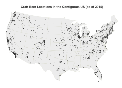 Locations of craft breweries and brew pubs across the United States. California, Colorado, Oregon, Washington, Michigan have the most craft beer locations.