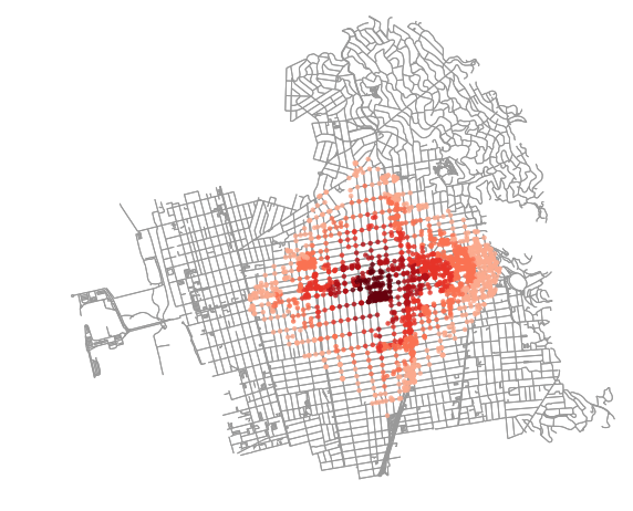 OSMnx map of isochrone points in Berkeley California's street network