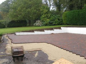 brick driveway being built in dorset