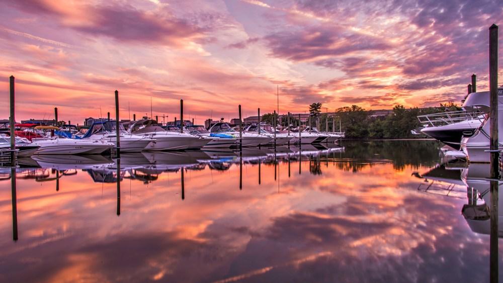 Sunset on the Pentagon Marina for Google+