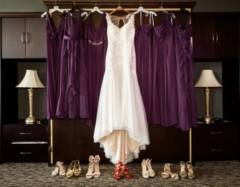 The bridesmaid and bride gowns and shoes.