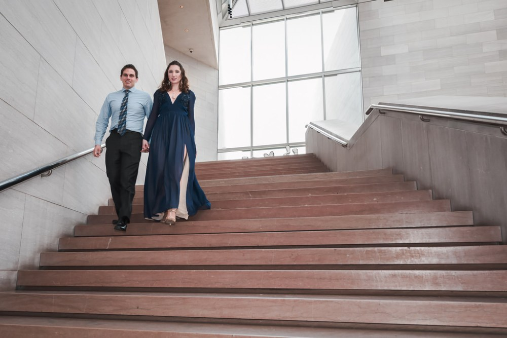 Engagement shoot going down the National Gallery Art stairs.