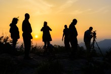 The VIVA Creative crew documenting wildlife works is silhouetted by a sunset.