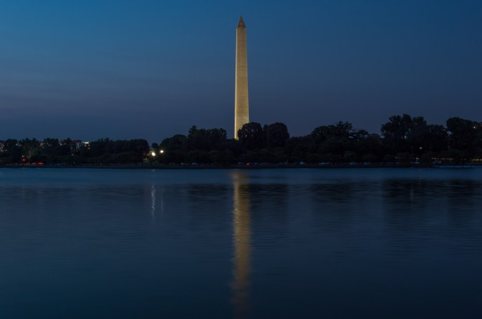 The Washington Monument in Blue