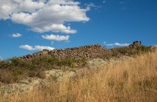 Dry stone wall constructed from volcanic rocks at Yandoit Hill.