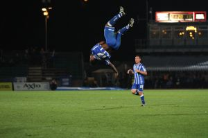 Kazenga LuaLua celebrates with a backflip