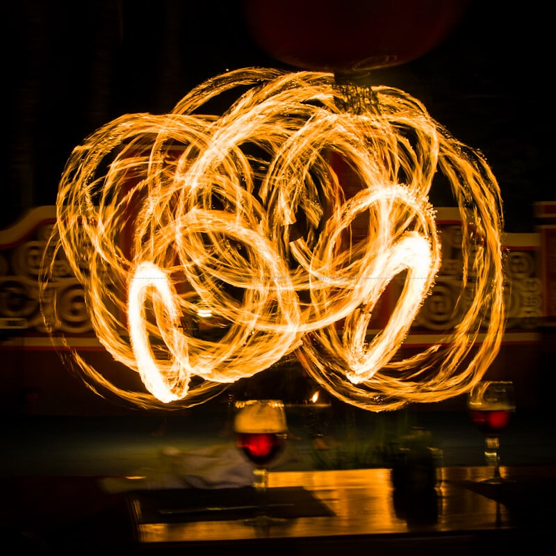 Long exposure of fire twirling