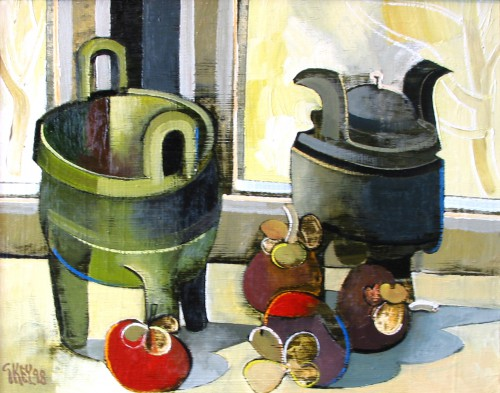 still life with chinese objects, oil 1998