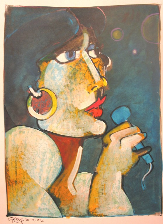 cabaret singer, mixed media 2005