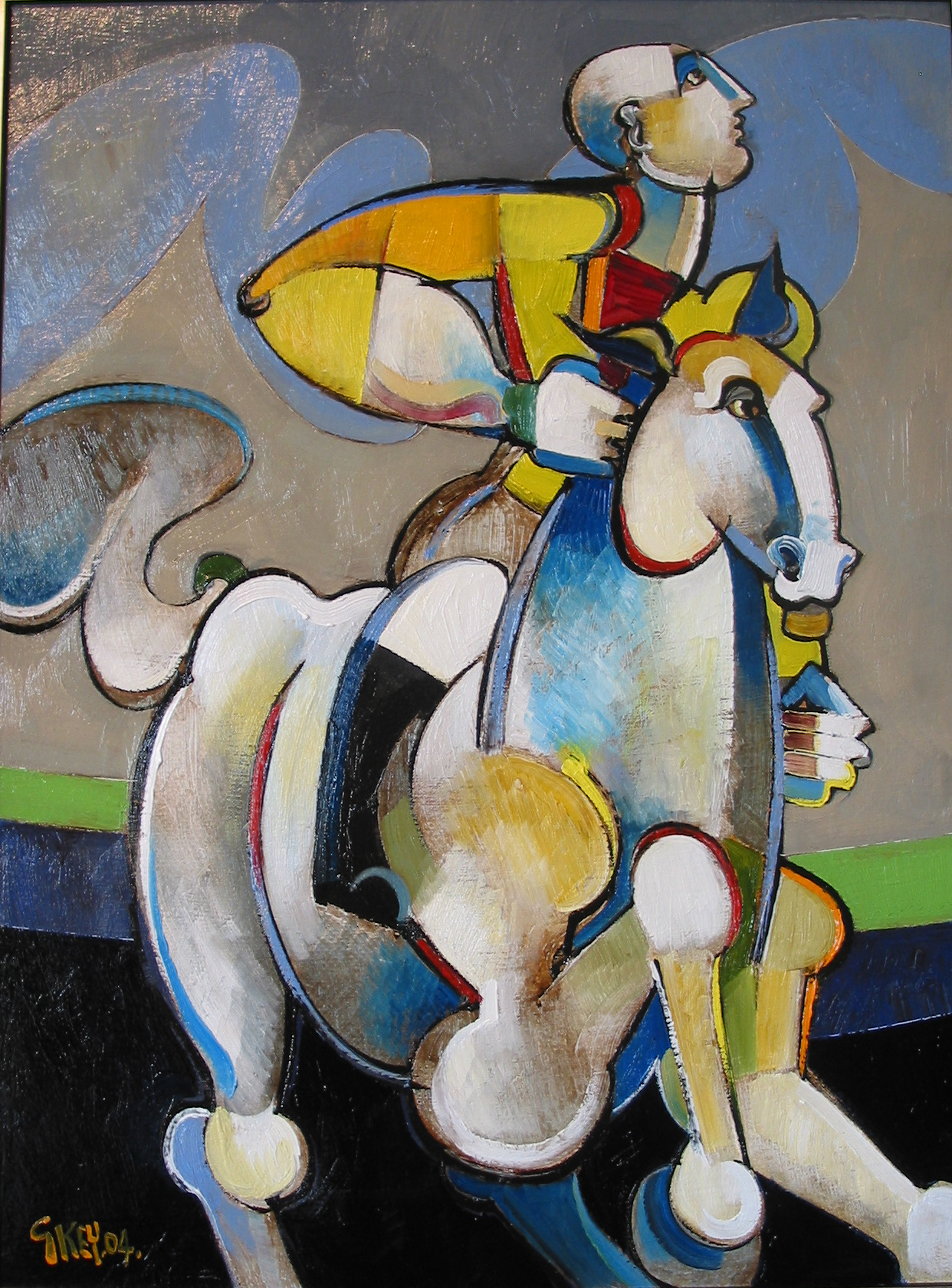 rider with blue cloud, oil 2004