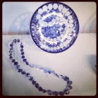 2013 04-21 MFA New Blue and White Repurposed Plate and Necklace