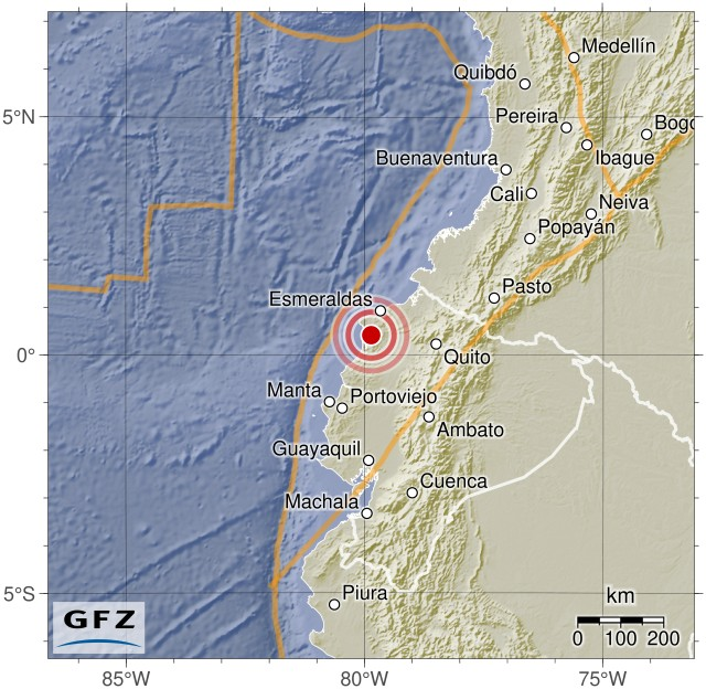 Event Map: M7.8 - 27km SSE of Muisne, Ecuador