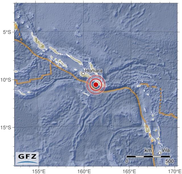 Event Map: M7.8 - 68km WSW of Kirakira, Solomon Islands On 2016-12-08 at 17:38:46 UTC.