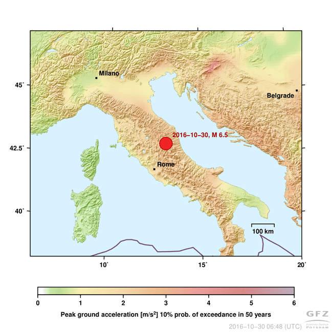 Peak ground acceleration, in Central Italy