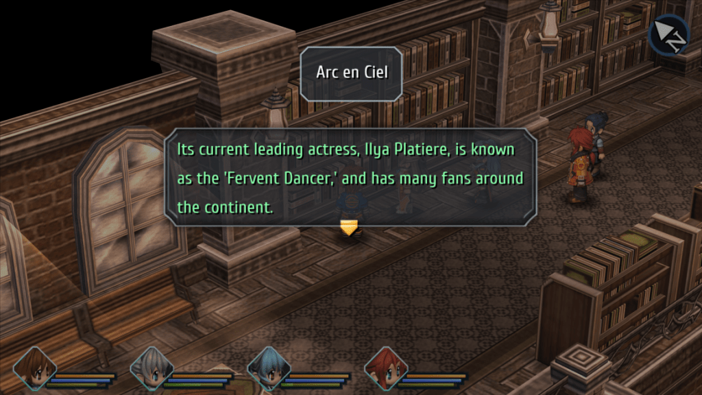 a screenshot from the game displaying the following text: 'Arc en Ciel' 'Its current leading actress, Ilya Platiere, is known as the 'Fervent Dancer,' and has many fans around the continent.'